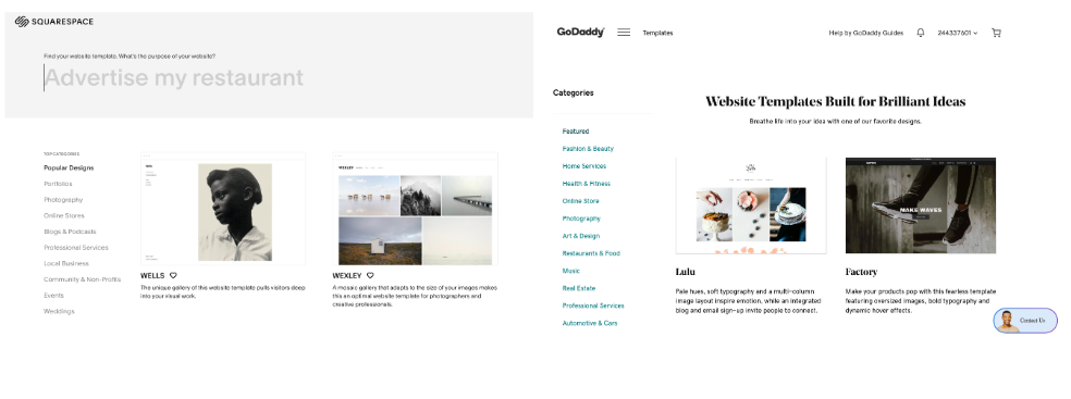 Squarespace vs GoDaddy: Template Selection