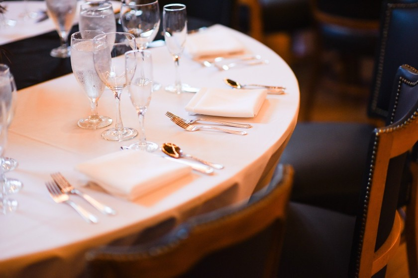 Table setting with wine glasses in a luxury restaurant