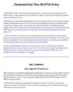 PTO Policy Template