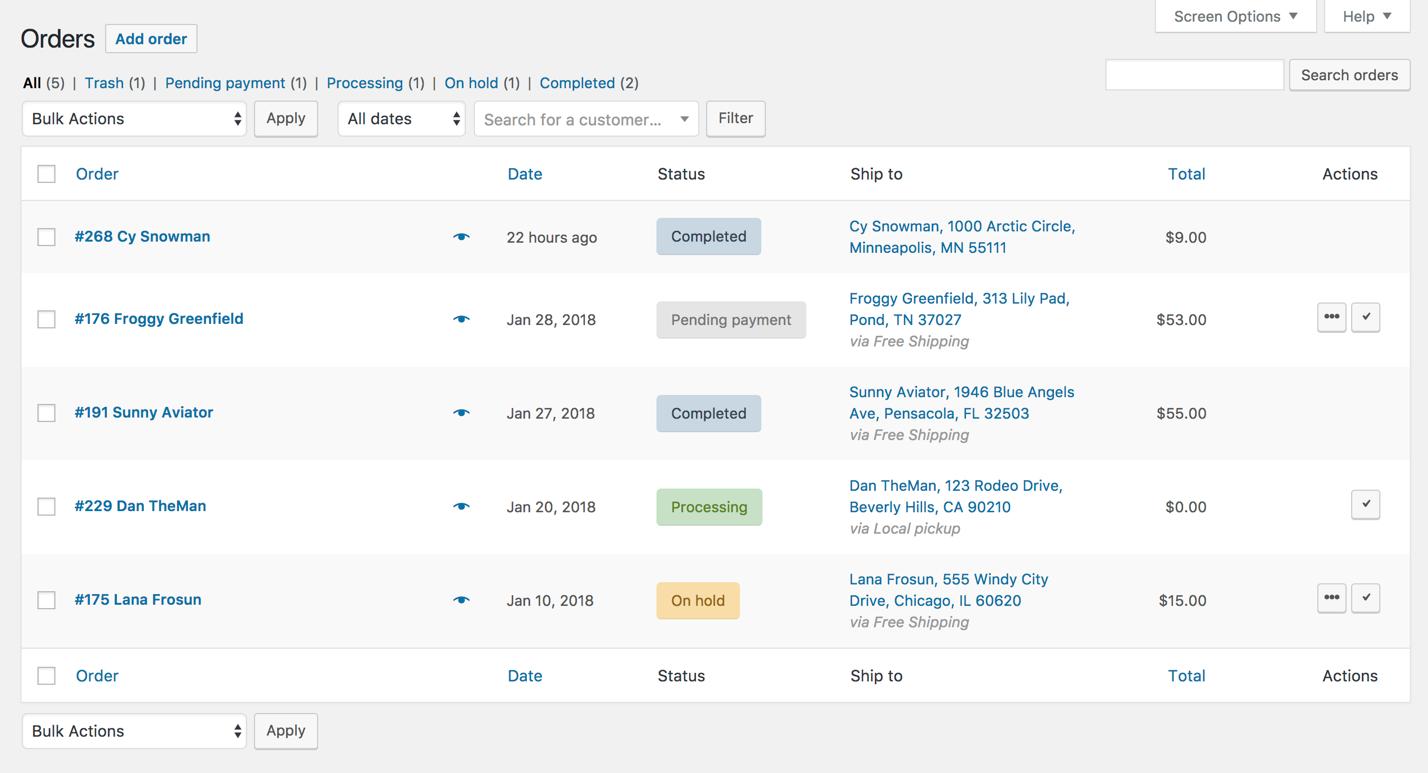 WooCommerce order management interface