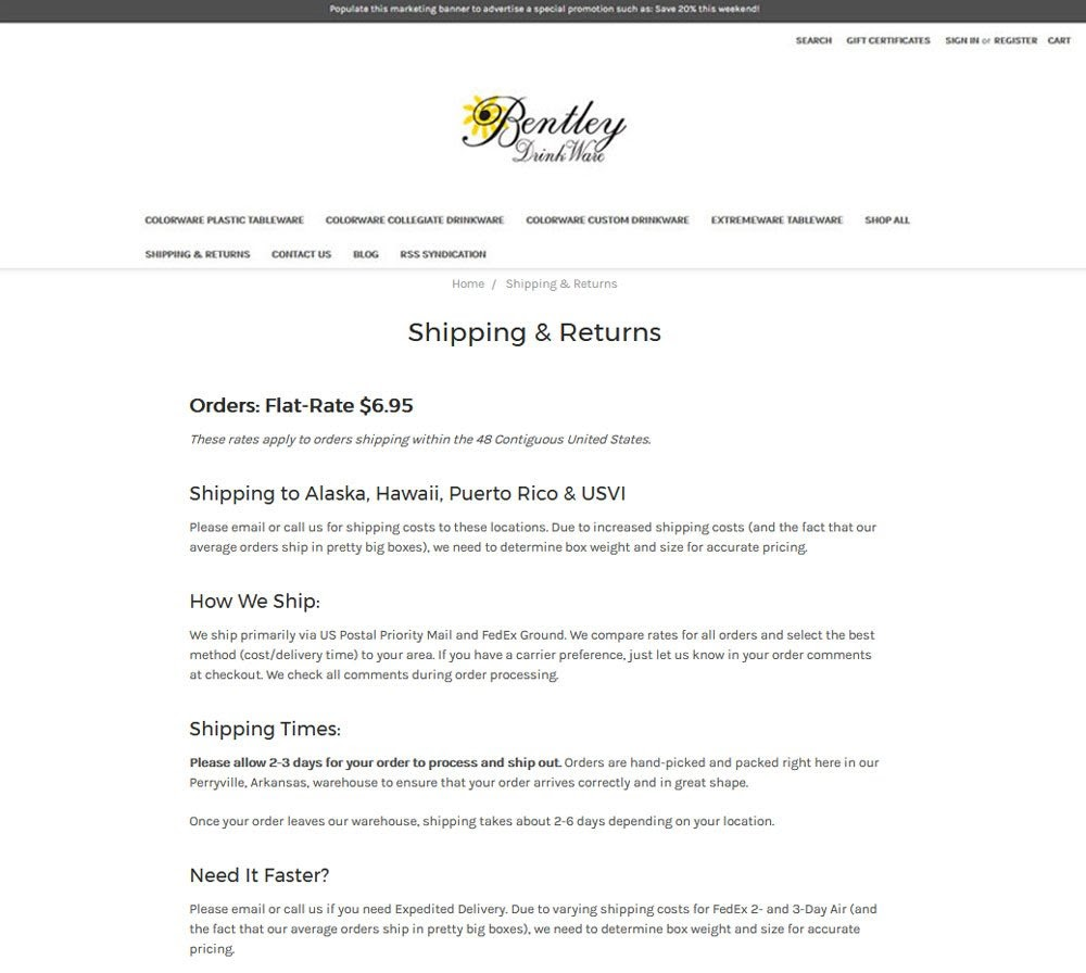 Bently Drink Ware Shipping and Returrns page