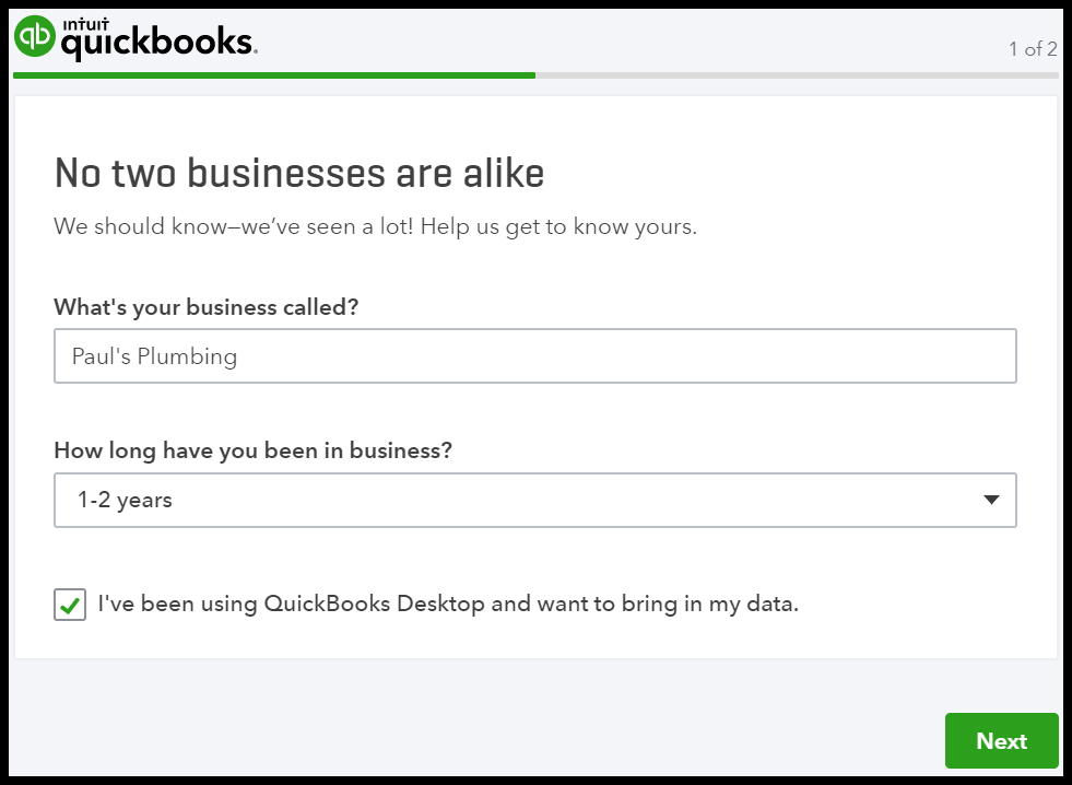 Provide company information to set up a QuickBooks Online account