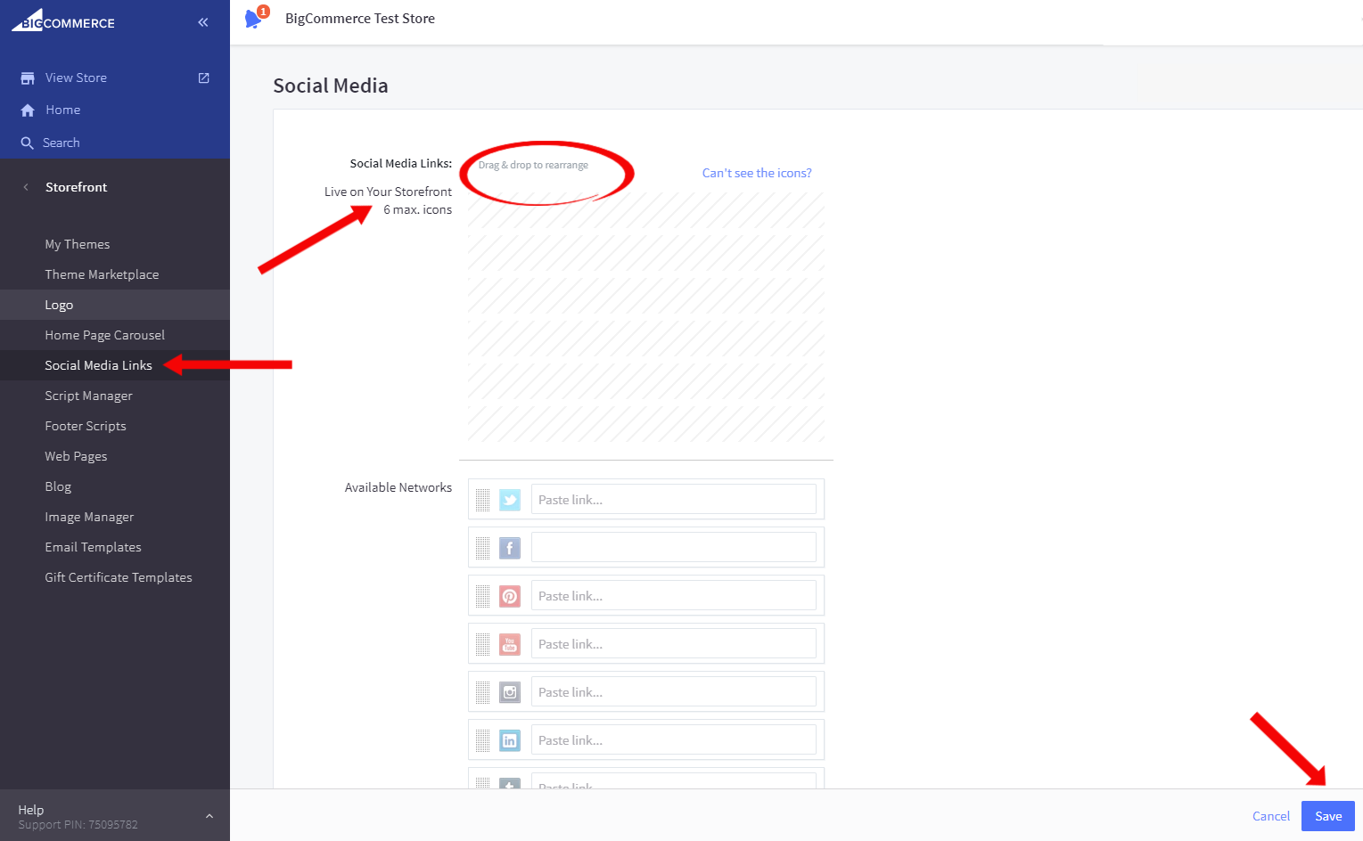 Guide on how to add social media links