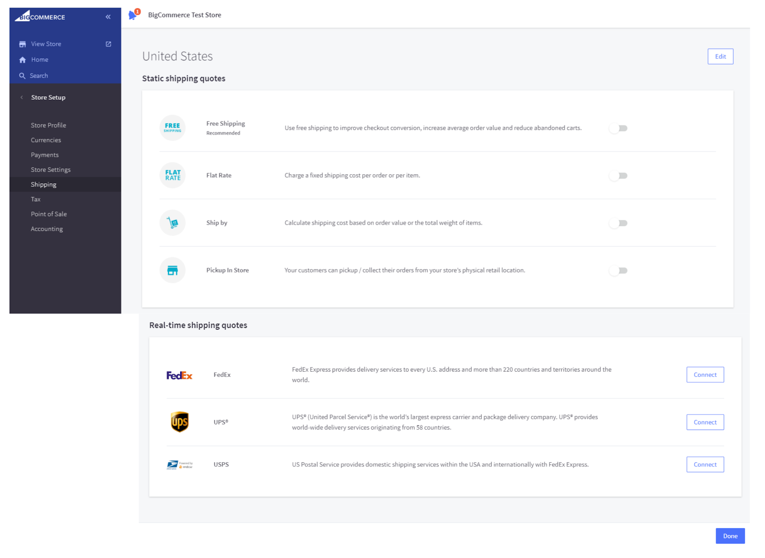 Bigcommerce Static Shipping quotes options