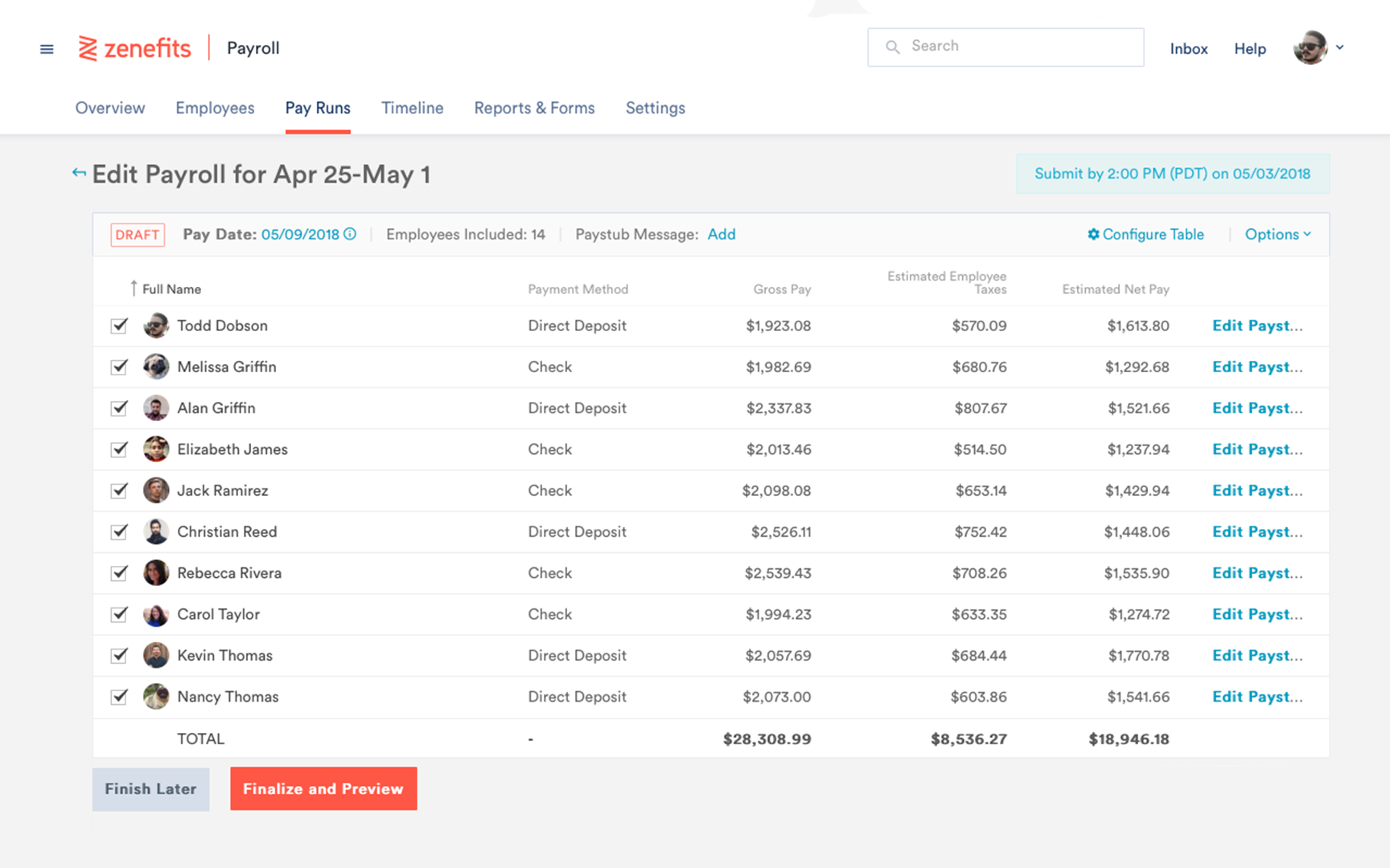 Zenefits Pay Run dashboard with list of employees