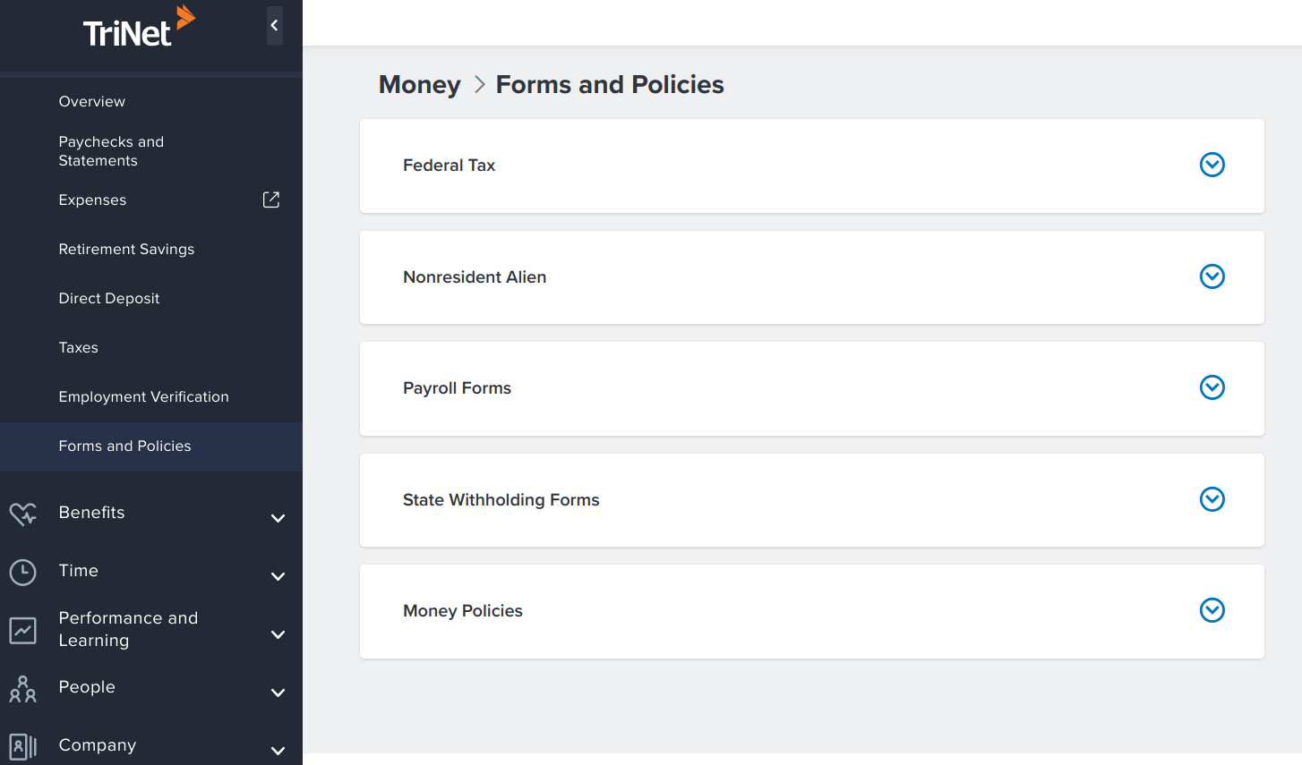 TriNet Forms and Policies page