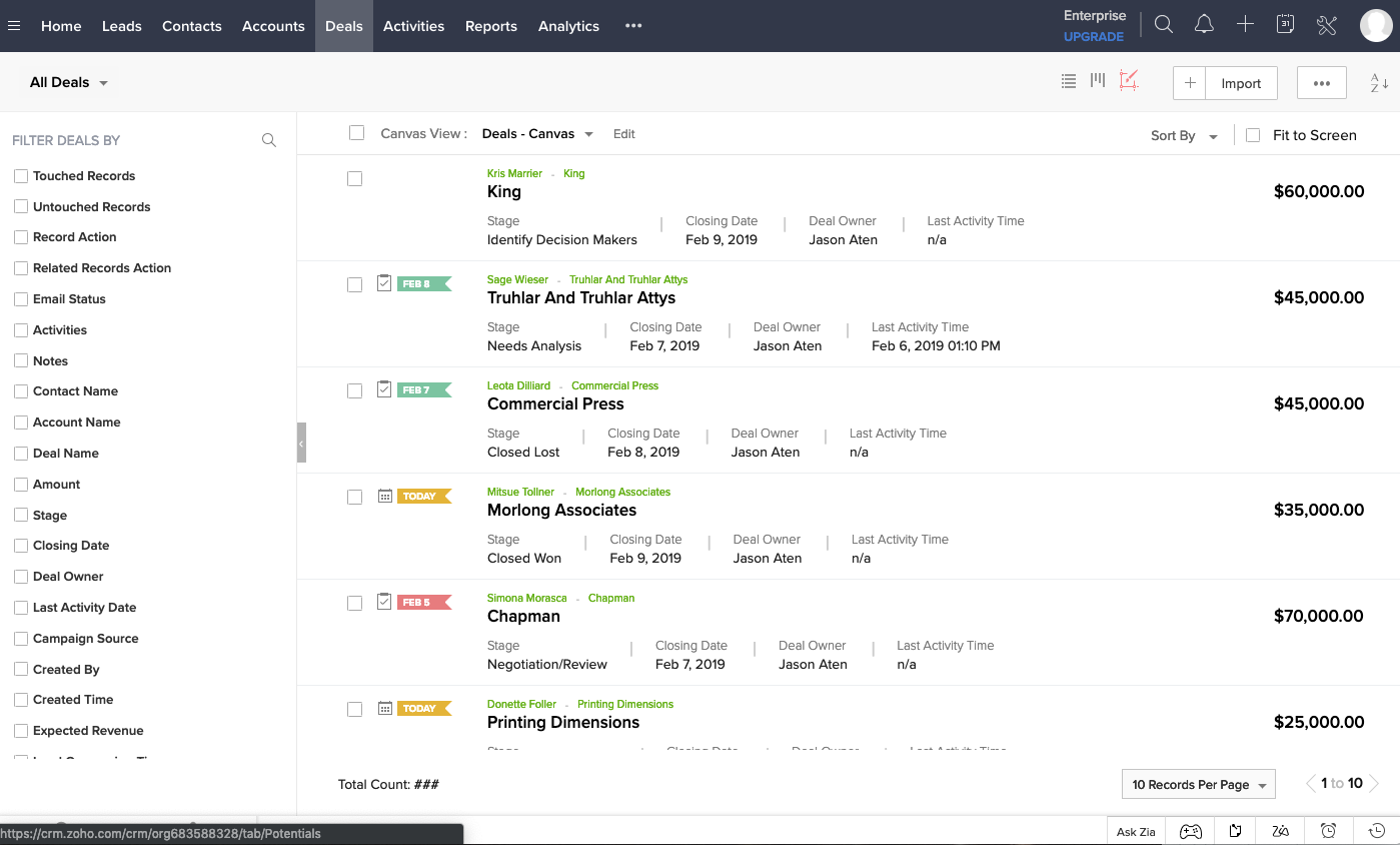 Zoho CRM deal management interface