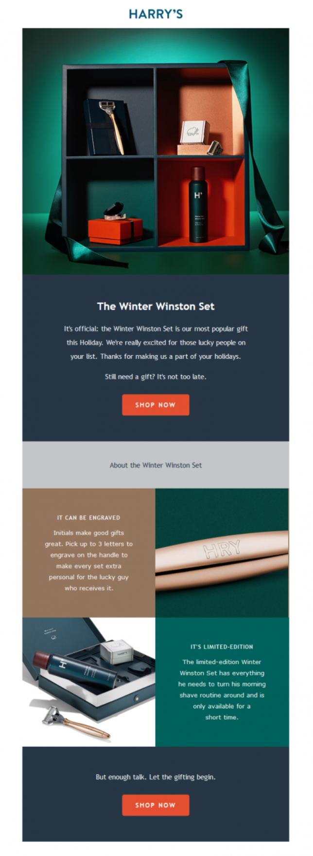 Harry's Winter Set Email Example with CTA Button