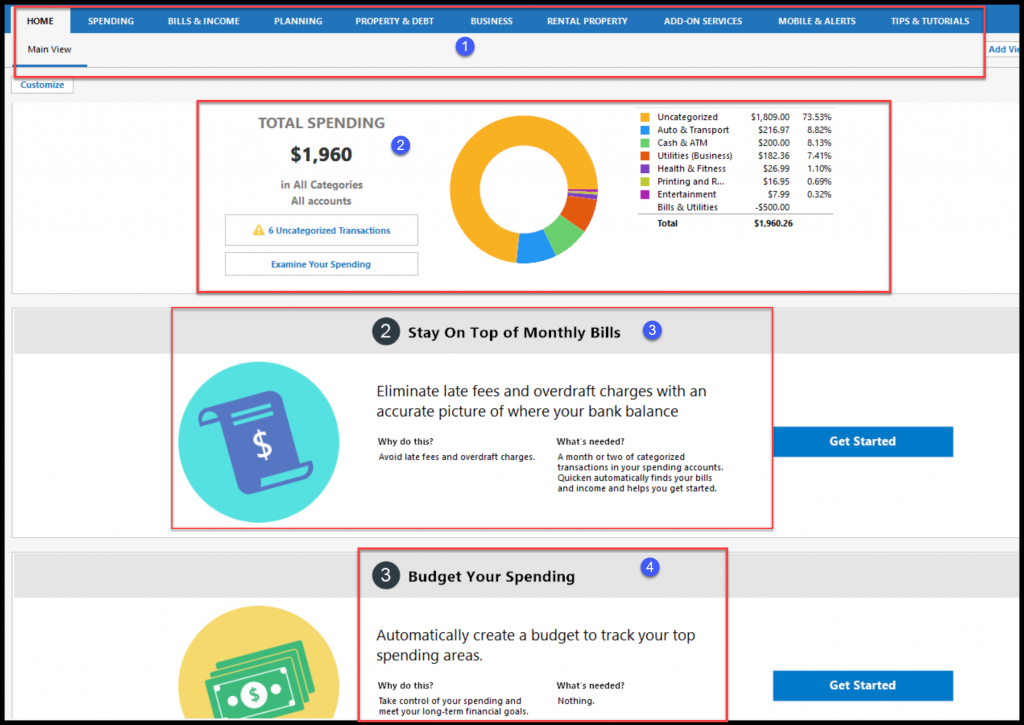 Snapshot of the Quicken Home & Business Dashboard