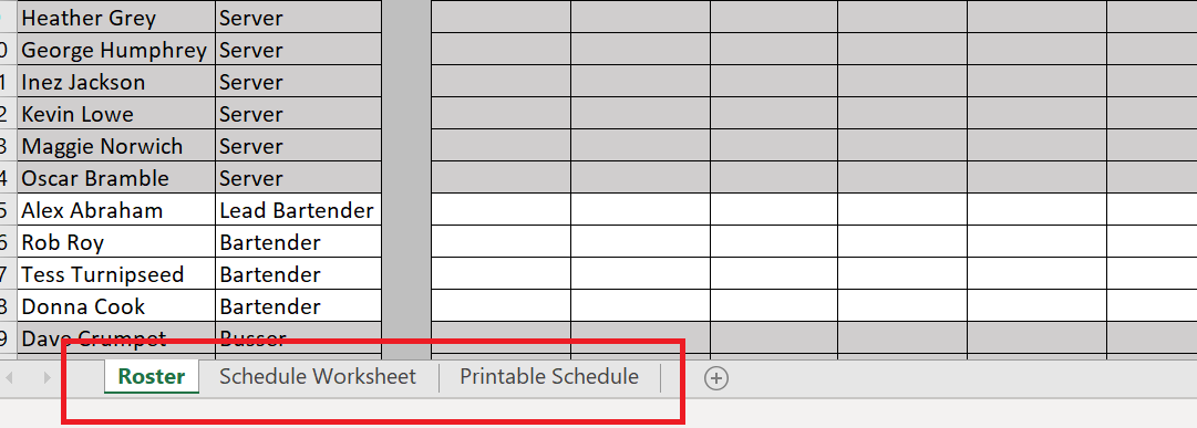 Roster, Schedule Worksheet, Printable Schedule