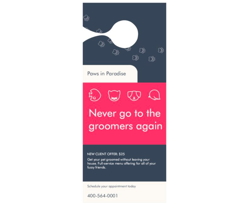 Vistaprint - Pet Grooming Door Hanger