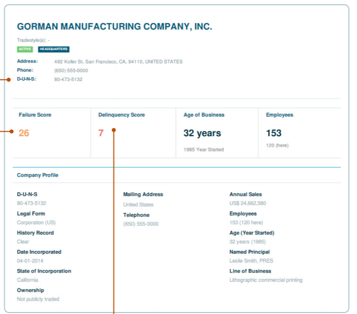 Example of Company profile section