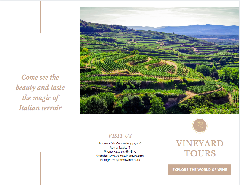 Canva - Wine Tours Brochure Side 1 Example