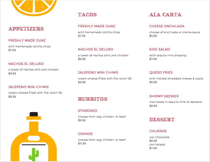 Canva - Takeout Menu Flyer Side 2 Example