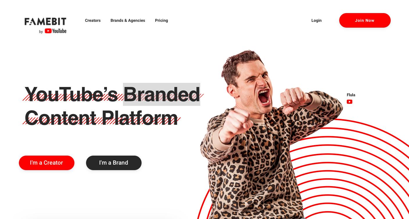 Famebit Landing Page