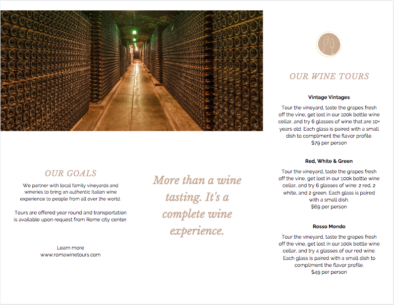 Canva - Wine Tours Brochure Side 2 Example
