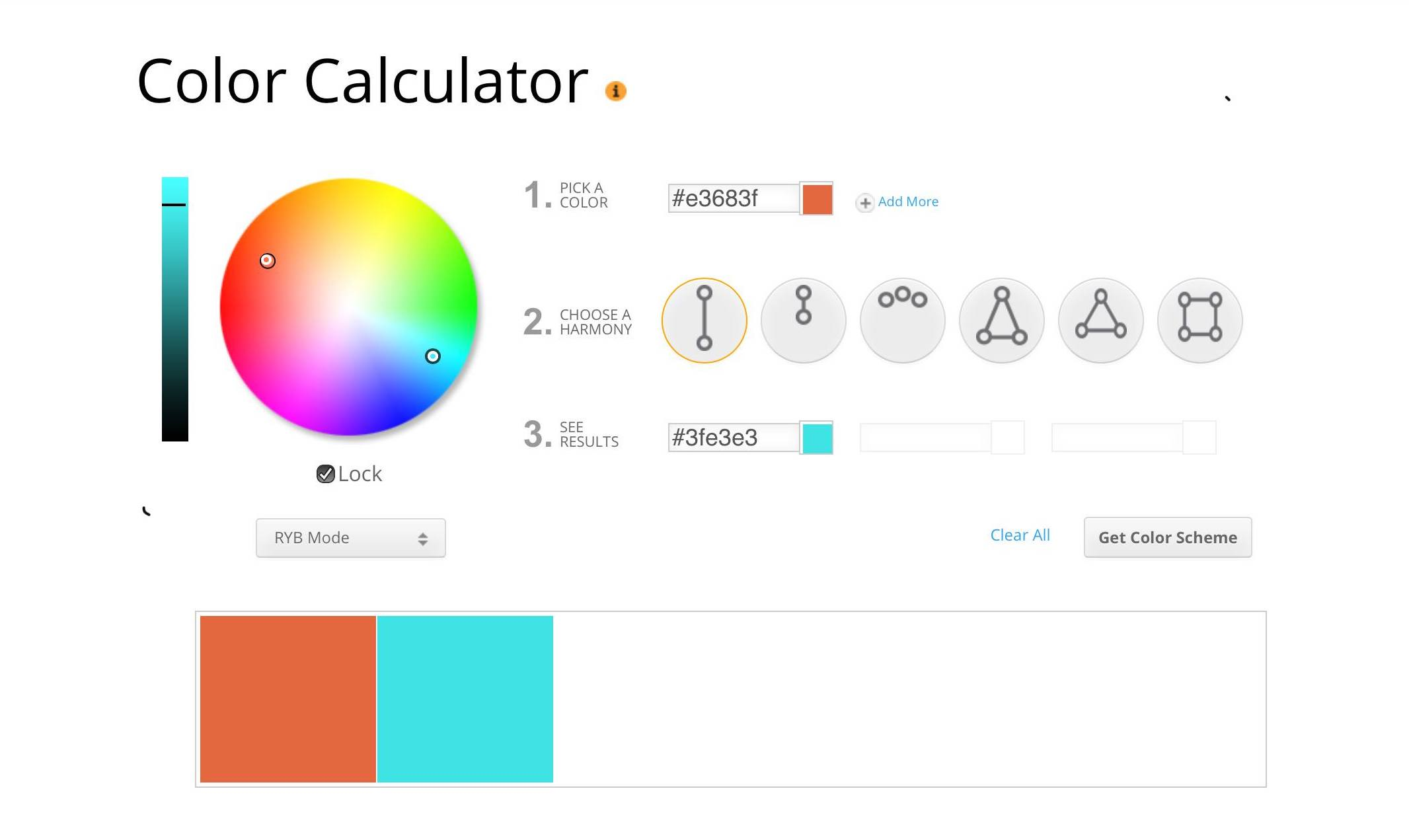 Color Calculator interface