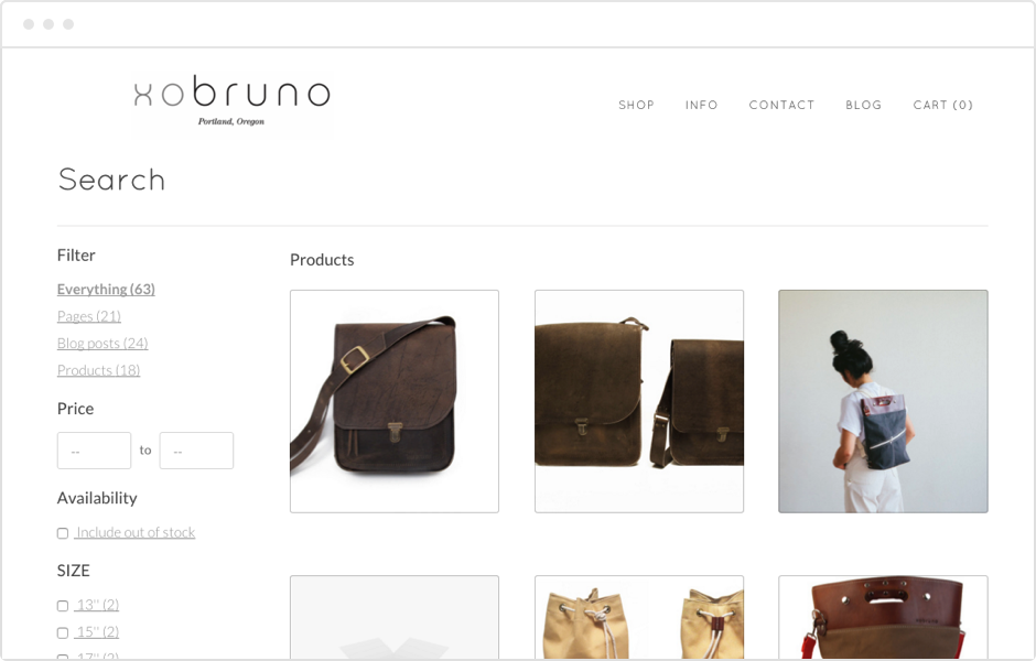 xobruno product page with filters