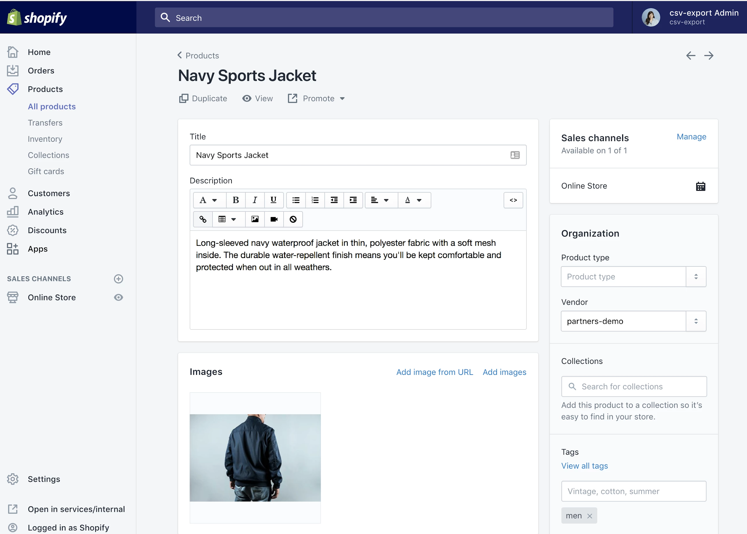 Editing contents of the product in Shopify