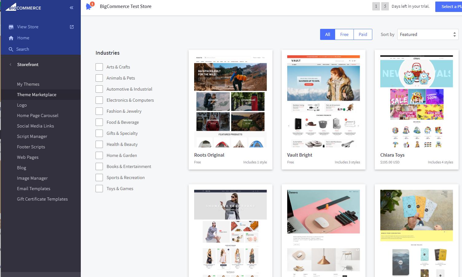 BigCommerce Theme Marketplace page