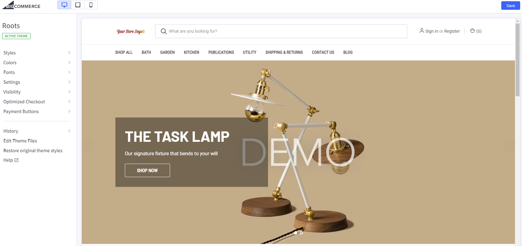 BigCommerce Theme Customizer page