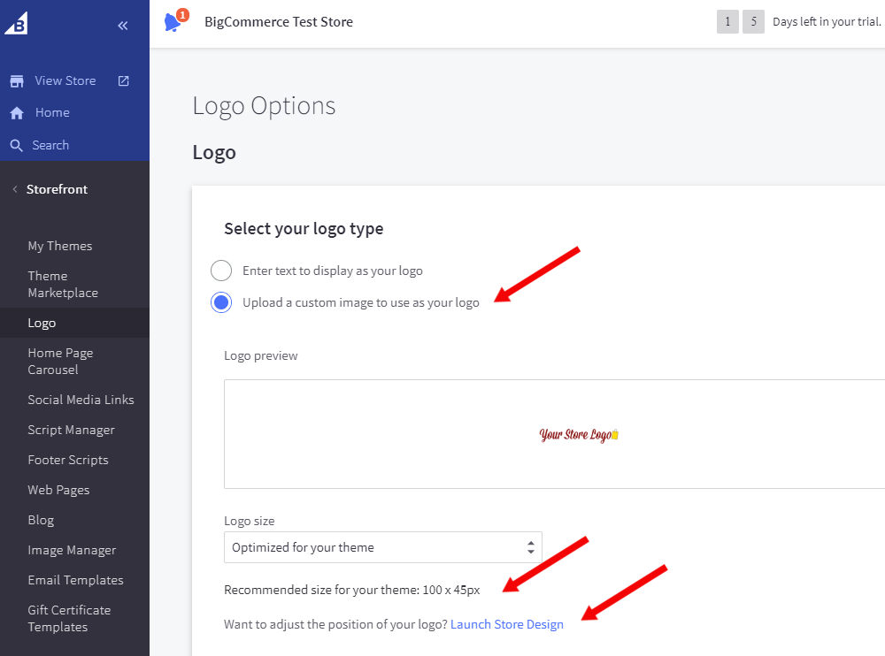 BigCommerce Test Store Options