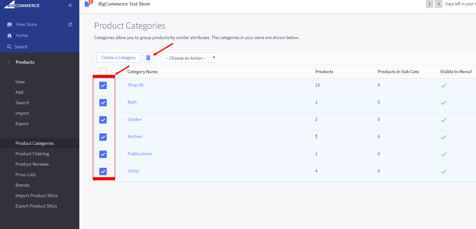 Deleting product categories in Bigcommerce