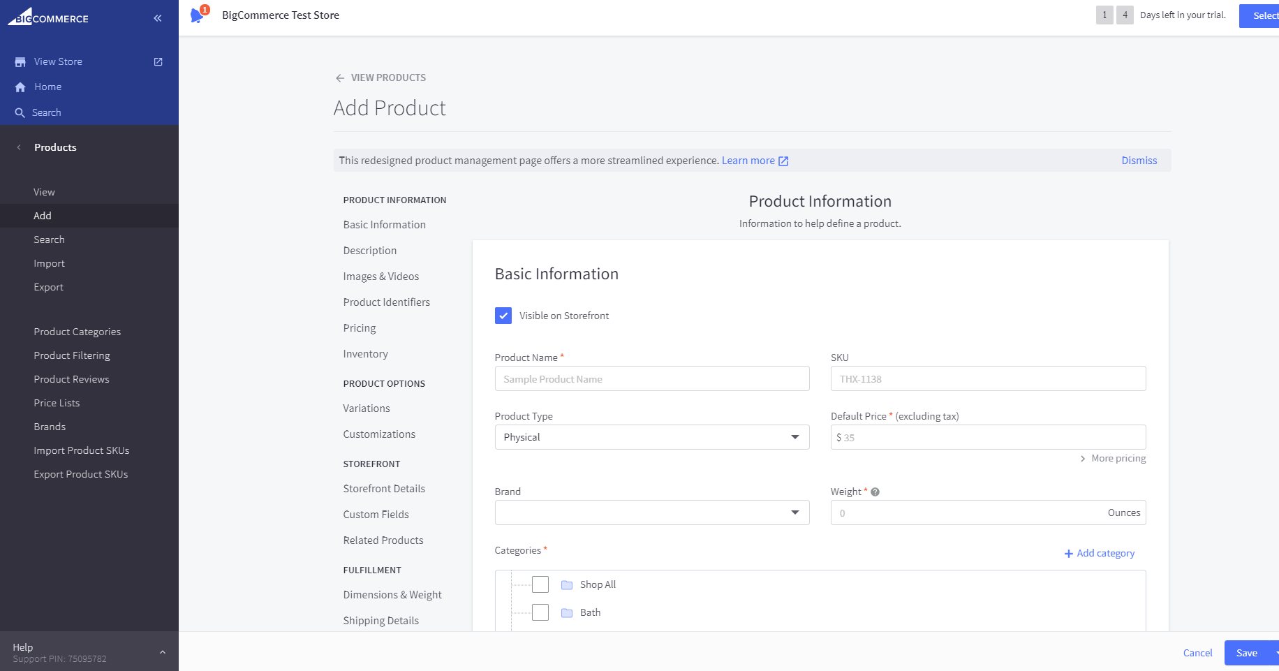 "BigCommerce ""Add Product"" dashboard"
