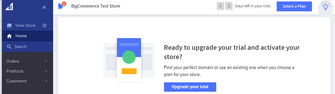 Launching Bigcommerce store by upgrading the trial plan to a paid plan