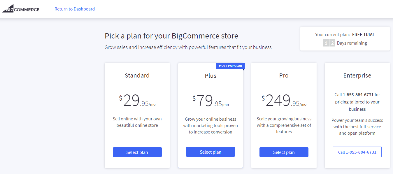 Bigcommerce with four Plans Options