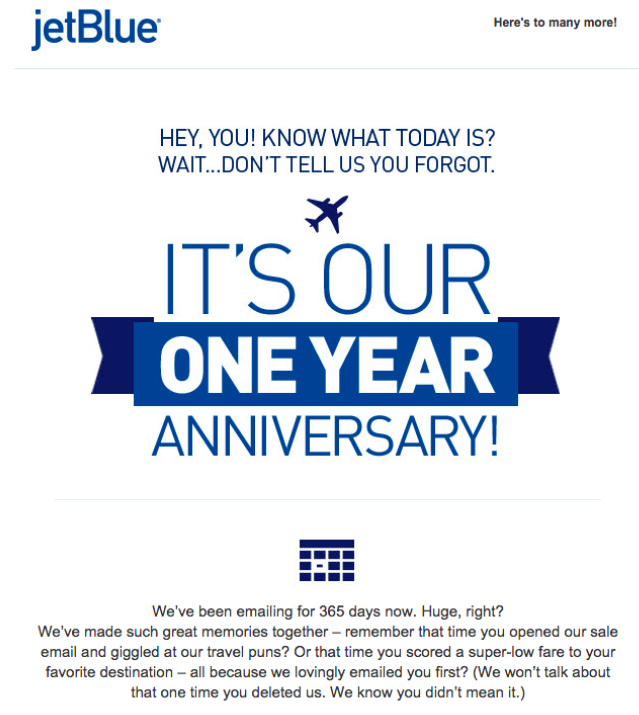 jetBlue Email Example