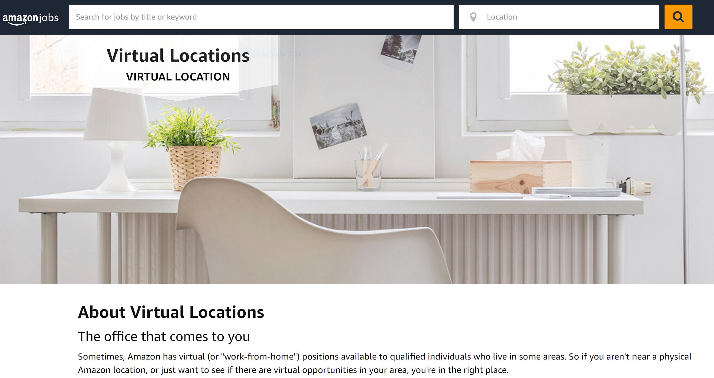 Amazon Virtual Location Page