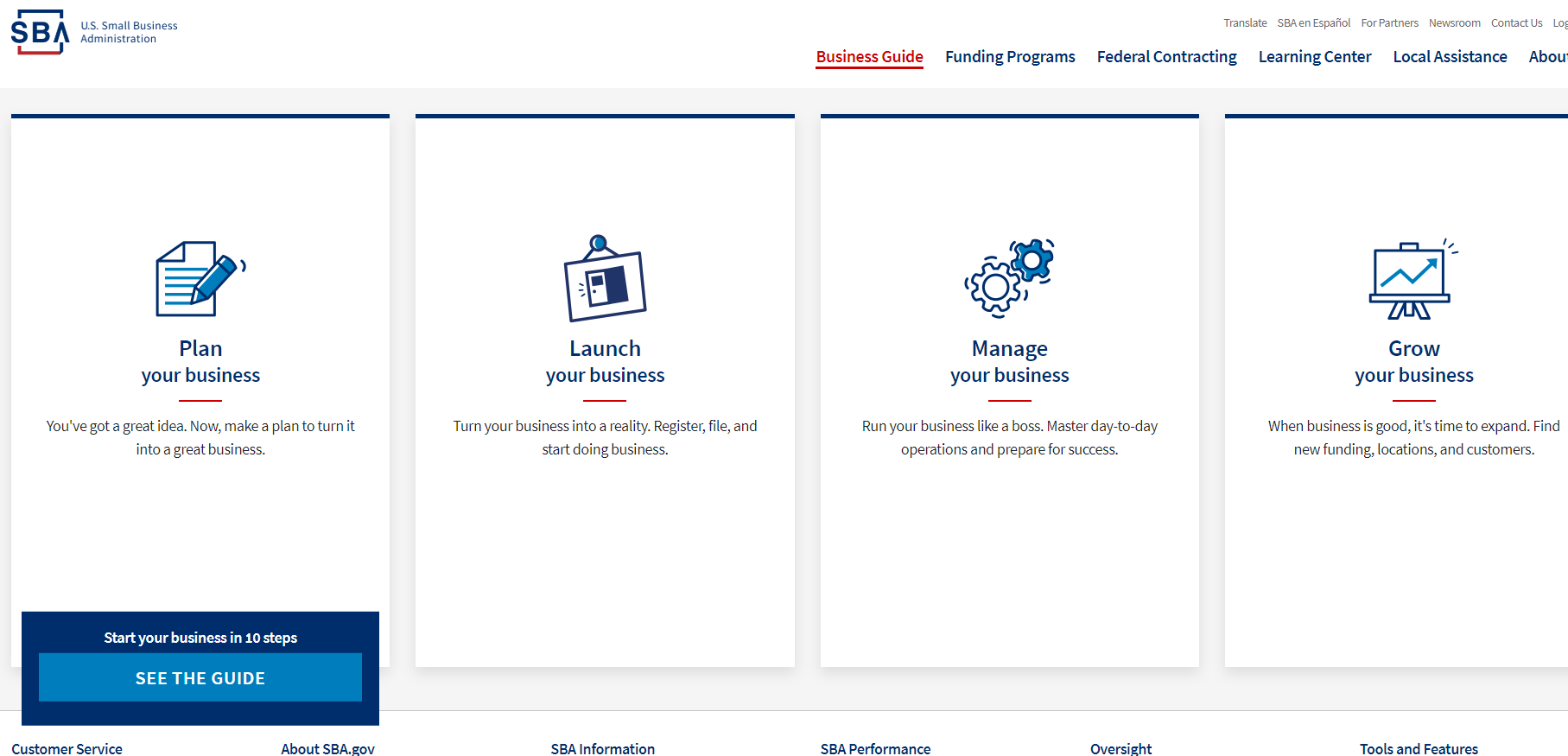 Small Business Administration (SBA) Landing Page