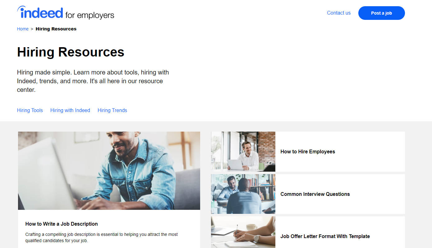 Indeed Hiring Resources Page