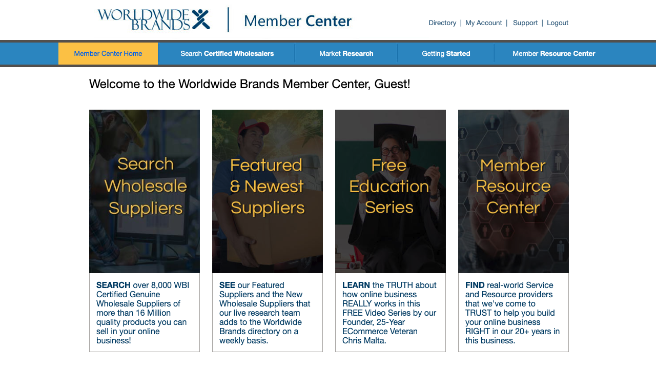 Worldwide Brands Member Center Page