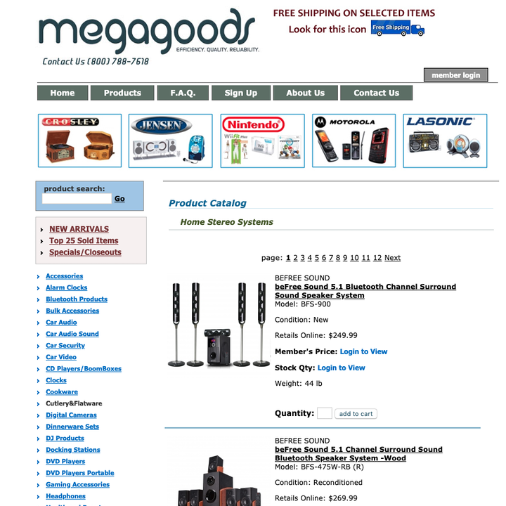 MegaGoods Product Catalog – Home Stereo Systems