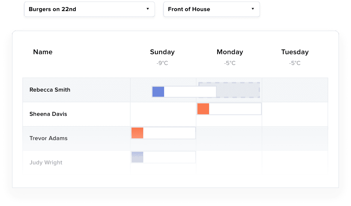 7Shifts - Assigning shifts interface