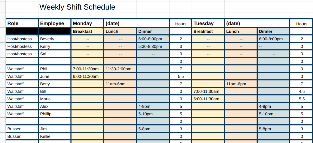 Weekly Shift Schedule Example
