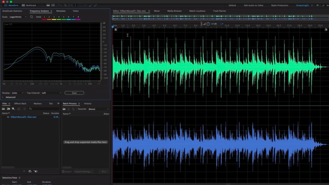 Adobe Audition Audio Editing Dashboard