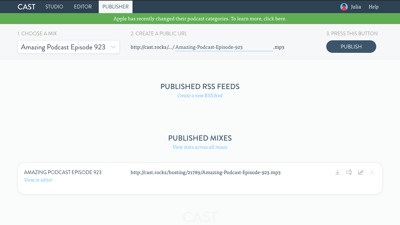 Cast Publisher Page
