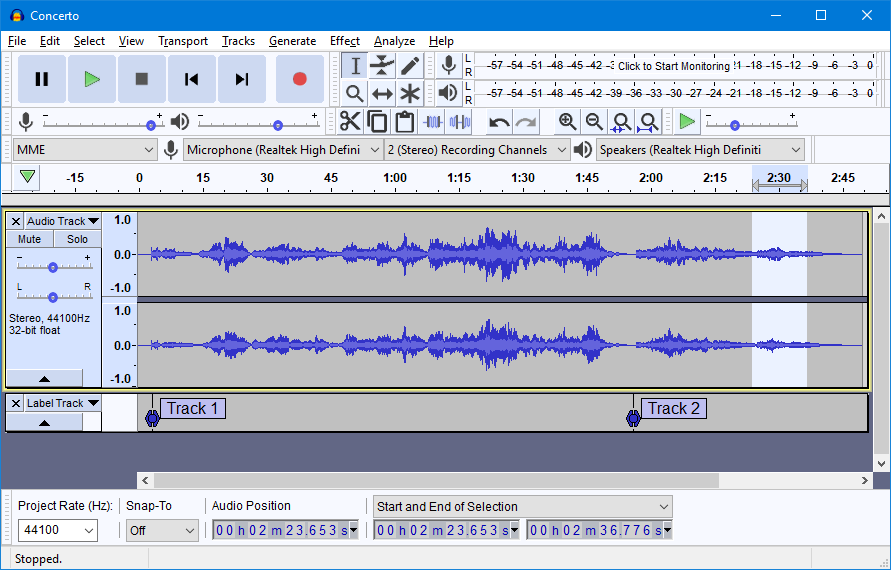 Audacity Dashboard with Audio Editor and tools