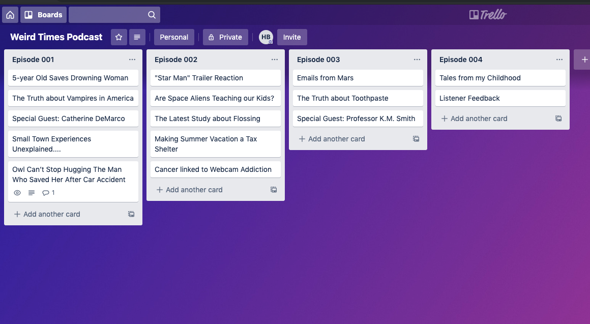 Trello Board with Cards labeled as Episodes