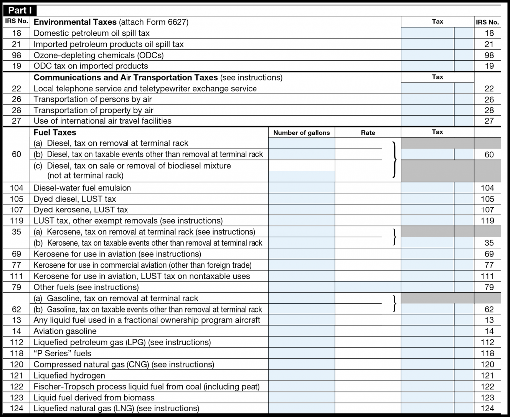 IRS Form 720 — Part I