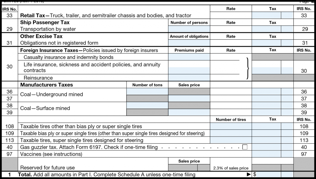 IRS Form 720 — Part I (continued)