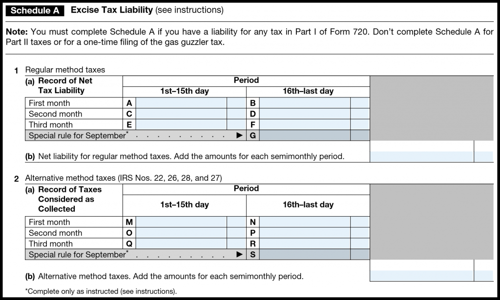 IRS Form 720 — Schedule A (Excise Tax Liability)