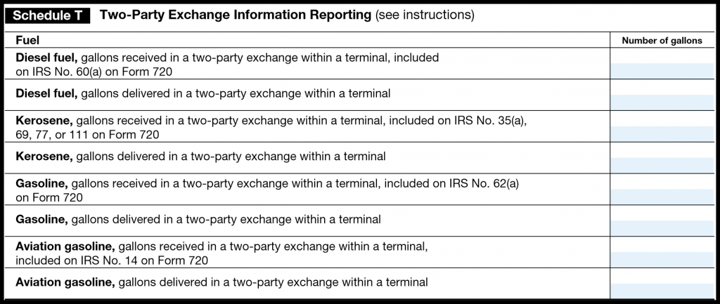 IRS Form 720 — Schedule T (Two-Party Exchange Information Reporting)