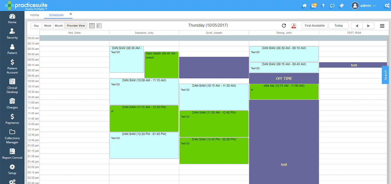 practicesuite dashboard with scheduling system