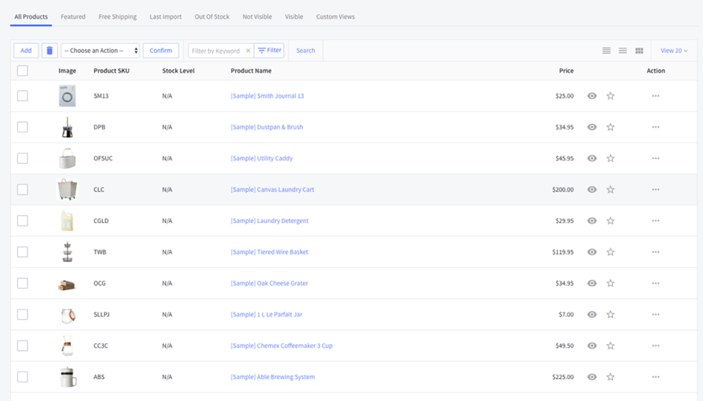BigCommerce Inventory Management interface