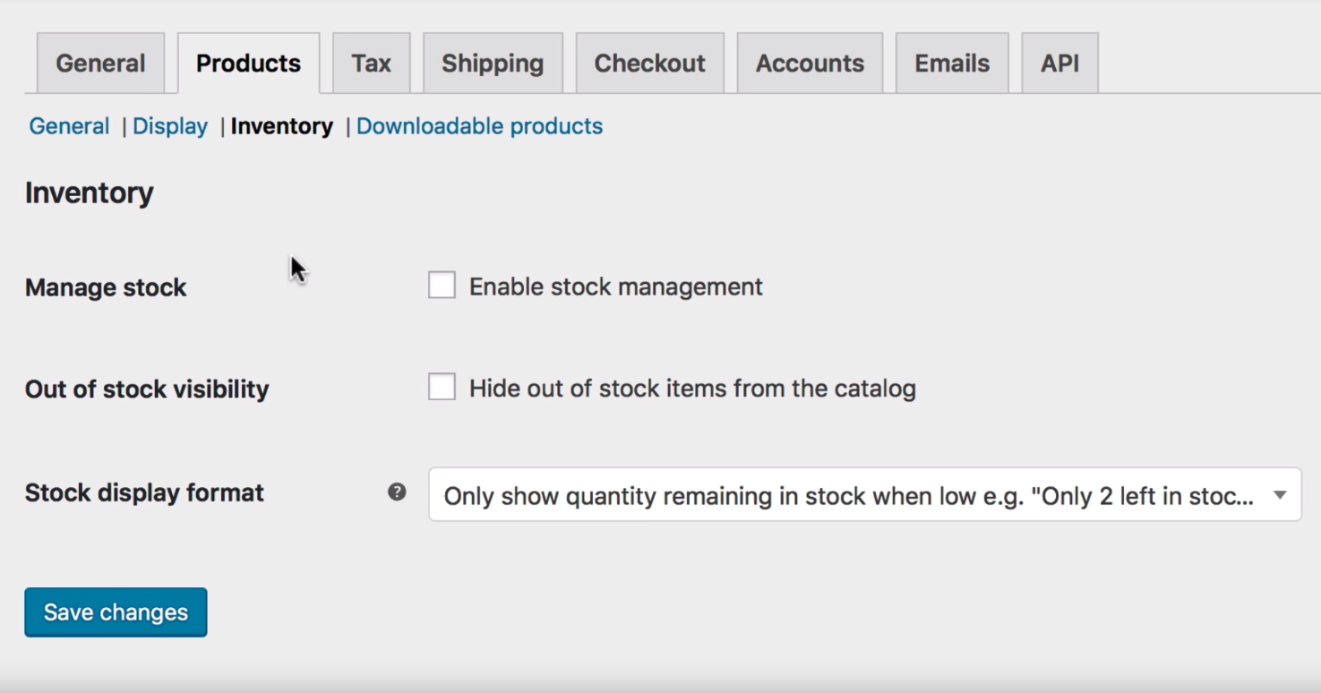 WooCommerce inventory management interface