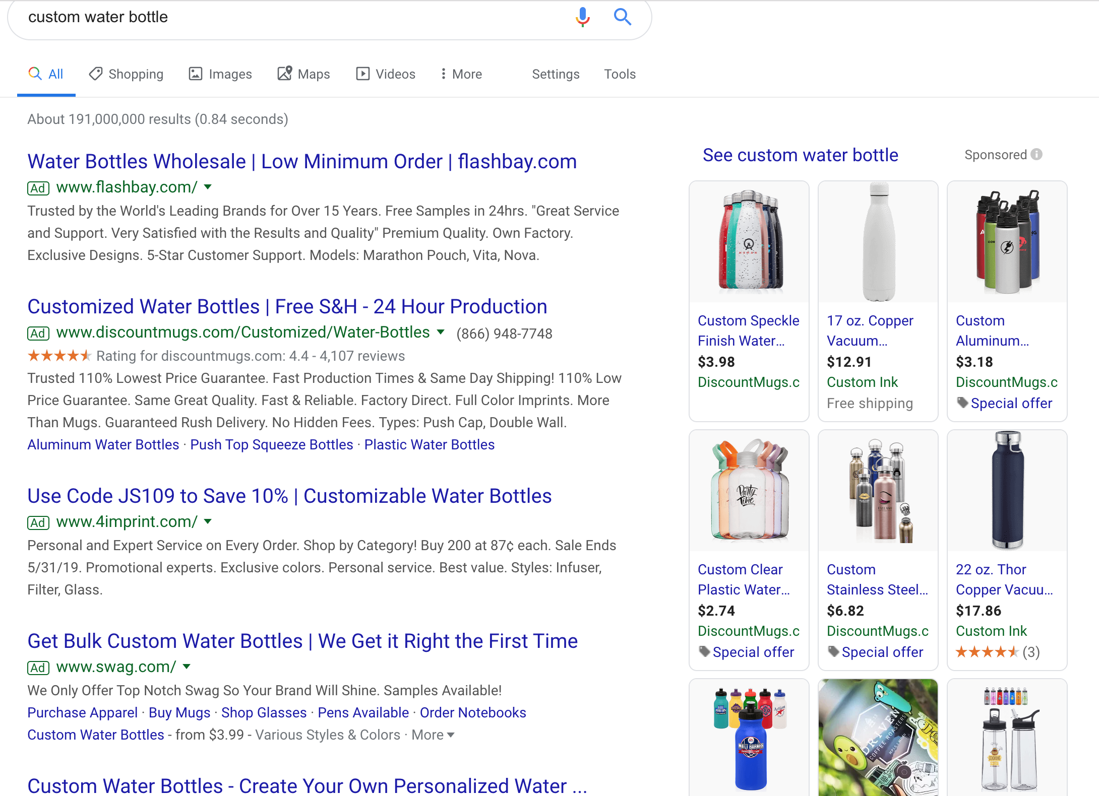 Google's list of the result searching for custom water bottle